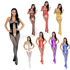 Women's Hollow Out Crotchless Fishnet Bodystocking Lingerie Nightwear Suspender