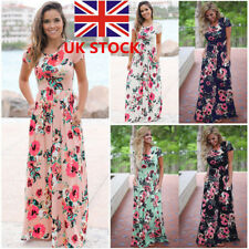 UK Women Floral Long Maxi Dress Summer Evening Party Beach Sundress Plus Size