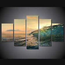Ocean Sea Rolling Wave Sunset 5 piece HD Print Wall Print Canvas