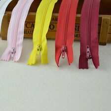 10X Assorted CONCEALED INVISIBLE NYLON ZIPS SEWING CLOSED END SEWING SUPPLY