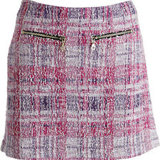 NWT JUICY COUTURE Black Label Pink Plaid A-Line Skirt L M $168