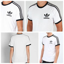 New Adidas Mens Trefoil White California Tees Crew Neck Retro T Shirts S M L XL