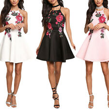 LADY BACKLESS SUMMER FLOWER EMBROIDERED SEXY SLEEVELESS FASHION PARTY MINI DRESS