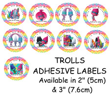 Personalised TROLLS Self Adhesive Glossy Labels/Stickers