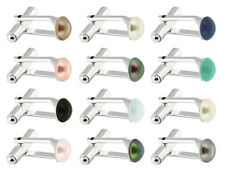 Sterlign Silver Cufflinks with SWAROVSKI 5817 Cabochon 8mm Pearls * Many Colors