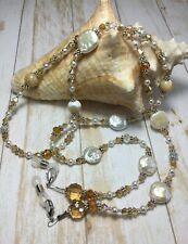 Handmade Pearl Mother Of Pearl Eyeglass Chain/Lanyard W/Swarovski Elements USA
