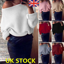 Women Off Shoulder Sweater Knitted Pullover Long Sleeve Jumper Winter Top Blouse