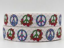 "Groovy White Peace Sign Symbol Floral 7/8"" Printed Grosgrain Hairbow Ribbon"