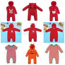 Infant Baby Boy Girl Holloween One Piece Christmas Hooded Outfit Romper Jumpsuit