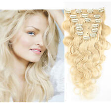 100% Real Clip In Body Wave Human Hair Extensions 140g Body Wave Human Hair Weft