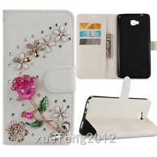 3D Bling Crystal Diamonds flowers rose PU leather flip slots wallet Cover case