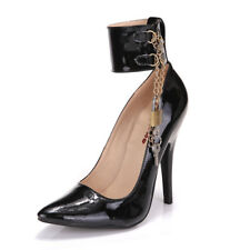 Womens Pointed Toe High Heel Ankle Strappy Shoes Leather Chain Lock Stilettos