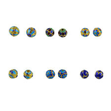 6pcs Cloisonne Round Ball Hollow Filigree Loose Spacer Beads DIY Findings