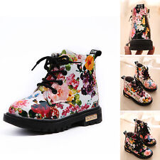 NEW Kids Boys Girls Child Floral Flower PU Leather Ankle Boots Shoes AU size 4-6