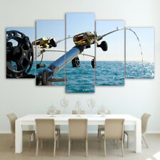 Seaview Fishing Rod Abstract Modern Painting Poster Canvas Wall Art Home Decor