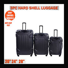 NEW 3 Pcs Luggage Travel Set Bag ABS Trolley Suitcase with Lock Black Color