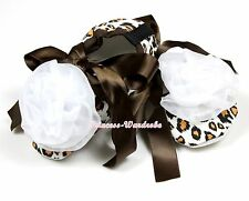 Infant Baby Toddler Baby Girl Brown Leopard Crib Shoes White Rosettes NB-18Month