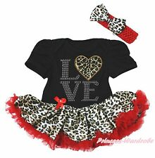 Valentine LOVE Heart Black Bodysuit Girls Red Leopard Baby Dress Outfit NB-18M