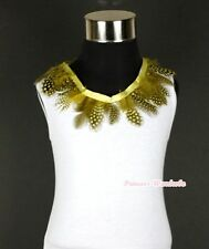 White Tank Top Shirt Exotic Yellow Peacock Print Feather Lacing Pettitop NB-8Y