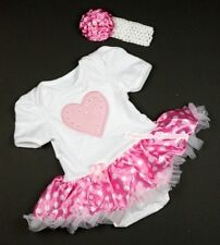 Pure White Romper Jumpsuit Pink Heart & Hot Pink White Dot Baby Dress NB-12Month
