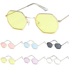 Vintage Retro Hexagon Square Sunglasses Metal Frame Glasses Men Women Eyewear