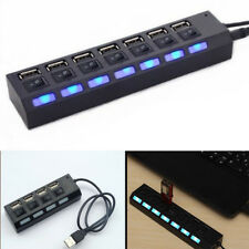 New 7/4 Port USB 2.0/3.0 Hub with High Speed Adapter ON/OFF Switch for Laptop-PC