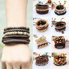 Mens Leather Bracelet Surfer Wide Multi Row Layer Stack Wristband Wrap Bangle