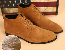 Mens Winter Warm Leather High Top Lace Up High Ankle Boots Hiking Shoes