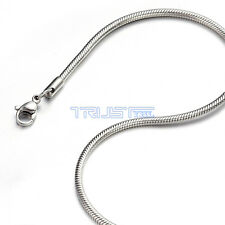 """1.2 - 3.2mm 20"""" inch Silver Stainless Steel Round Snake Necklace Chain Men Women"""