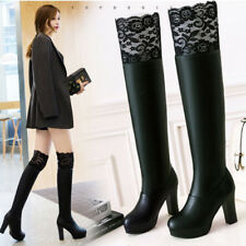 Women Platform High Heel Lace Over Knee Boots Round Toe Warm Knight Shoes Winter