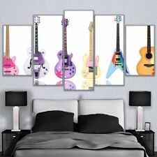 Color Electric Gtuiars Painting Modern Poster Prints Canvas Wall Art Home Decor