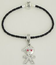 Rhinestone Cool Kid w/ Cap Charm on Black Braided Serjaden Bracelet Anklet  #267
