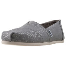 Toms Classic Seasonal Drizzle Peace Womens Grey Canvas Casual Slip On Slip-on