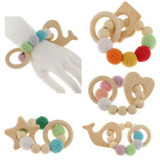 Natural Wooden Crochet Beads Baby Teether Wood Teething Bracelet Ring Rattle Toy