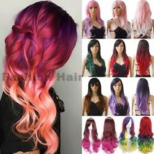Long Cosplay Reverse Ombre Wig Women Wavy Straight Party Full Hair Wig Synthetic