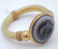 Wonderful Ancient Eye Agate Emperor Intaglio Lovely 23K Solid Gold Ring #SH522