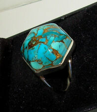 JAY KING 20MM SLEEPING BEAUTY TURQUOISE & BRONZE MATRIX CABOCHON RING STERLING