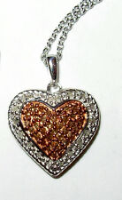 HEART PENDANT .25CTW 100% NATURAL CHAMPAGNE DIAMOND NECKLACE ROSE GOLD STERLING