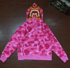 Men's Bape Fashion Tiger Head Pattern Zipper Jacket A Bathing Ape Pink Hoodie