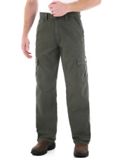 Men's Wrangler Rip-Stop Cargo Pants Loose Fit Straight Leg Olive Green ALL SIZES
