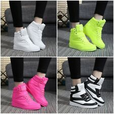 Womens Sneakers Lace Up Athletic High Top New Wedge Heel Casual Shoes Boots  FR
