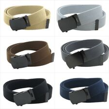 "Canvas Web Belt Military Style with Black Buckle and Tip 56"" Long Adjustable"