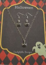 Cute Little Antique Silver Jack O'Lantern Halloween Charm Necklace and Earrings