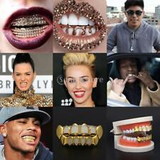 18k Gold Plated Iced Out HipHop Teeth Grills Caps Top Bottom Grill Set Halloween