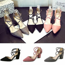 H Sexy Women's Block Kitten High Heels Suede Leather Shoes Pumps Pointed sandals