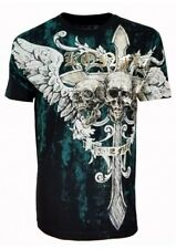 Konflic NWT Men's Winged Cross with Skulls  Graphic MMA Muscle T-Shirt