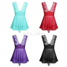Women-Sexy-Lingerie Lace Dress Nightwear Underwear G-string Babydoll Sleepwear