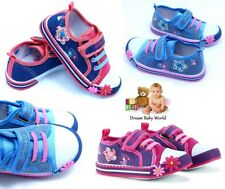 Girls canvas shoes trainers nursery slippers baby toddler size 3.5 - 8UK - BOX