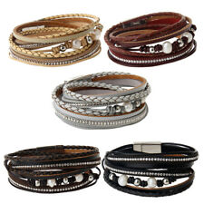 Multilayer Crystal Charms Bangle PU Leather Faux Pearl Wrap Braided Bracelet