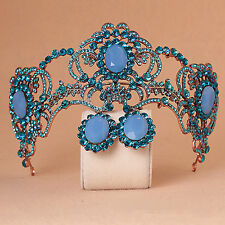 Wedding Bridal Blue Crystal Queen Crown Headband Tiara Earrings Jewelry Set Prom